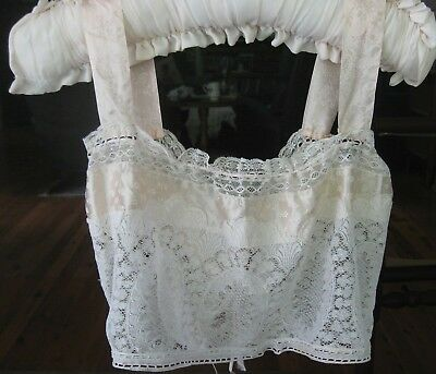 vintage 1920s handmade lace & peach satin ribbon CAMISOLE, BRA LET  small