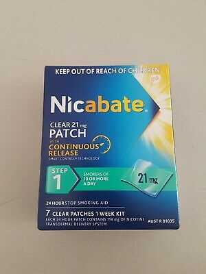1x box Nicabate clear 21mg PATCH, step1, 7 clear patches 1 week kit.