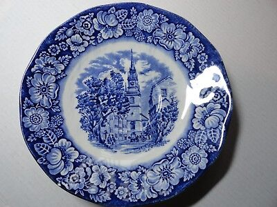 Vintage Staffordshire Liberty Blue China Old North Church Plate Made in England