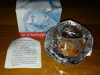 KOSTA BODA CRYSTAL SNOWBALL CLEAR GLASS Candle Holder Sweden BEAUTIFUL Vtg NEW