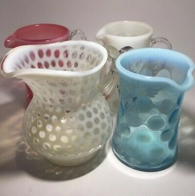 Vintage Fenton Pitcher & Coin Dot Glass Items