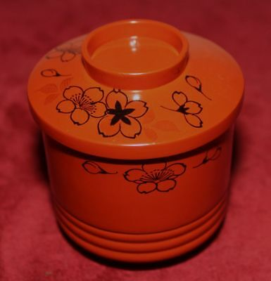 Japanese antique lacquer-ware - Cherry blossom design covered tea bowl - WWII