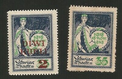 1919 Latvia Allegory of One Year Independence Mint Stamps. One Overprinted