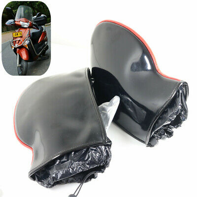 Black Motorcycle Handle Bar Mitts Hand Warmer Motorbike Bar Muffs Gloves UK