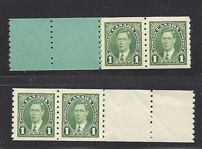 Canada Scott 238 Start and end strips coils VF MNH. Unitrade $75 Cad.