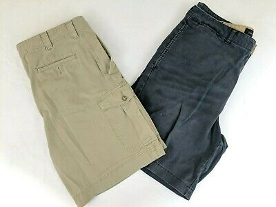 a26db2689f LOT OF 2 Pair Mens Shorts Navy and Khaki Size 38 Cargo Flat Front ...