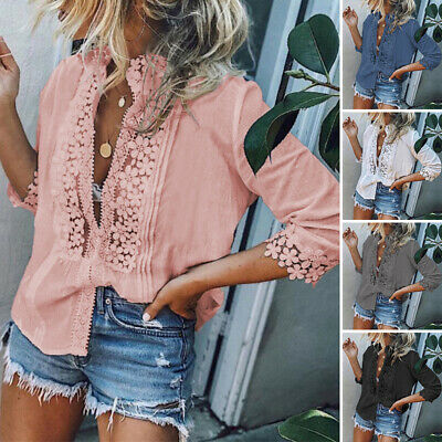 Women Casual Loose Plus Size Lace T Shirt Short Sleeve V Neck Casual Blouse Top