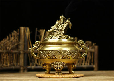Chinese old antique brass statue hand made dragon Incense Burners