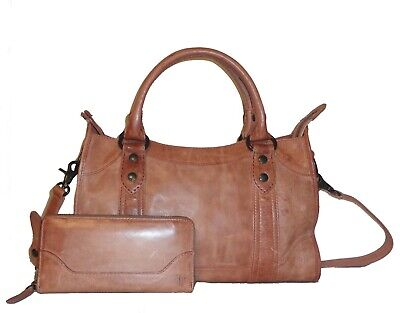 295566e23 FRYE DUSTY ROSE Leather Melissa Satchel DB147 & Zip Wallet NWT ...