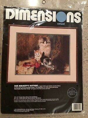 Dimensions Crewel Embroidery Kit HER MAJESTY'S KITTENS 1991