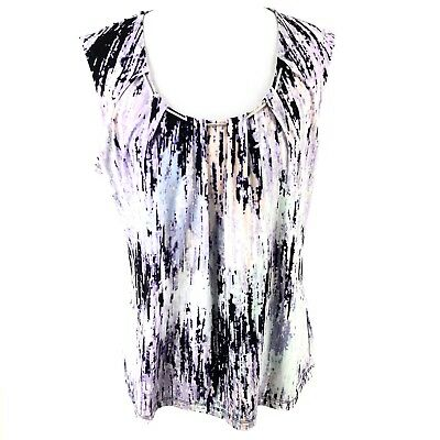 dabbad20a32a07 CALVIN KLEIN WOMENS Size Large Sleeveless Pleated Floral Print Tank ...