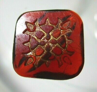 ANTIQUE VICTORIAN SQUARE RUBY RED CARVED FACE GLASS BUTTON  SIDE 13/16th 21mm