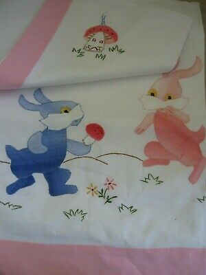 vintage embroidered appliqued cotton FLAT COT SHEET  & PILLOW CASE rabbits
