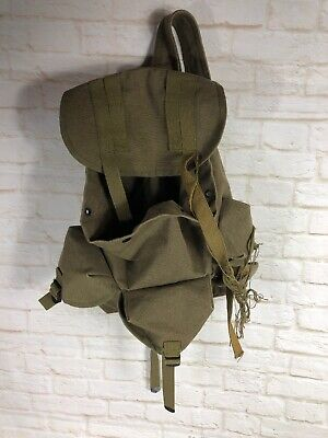 Vintage Army Style Rucksack Backpack Carry On Green Canvas Duffle Bag