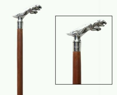 Jaguar Handle Gentlemens Classic Style Wooden Walking Stick Brass Handle Cane