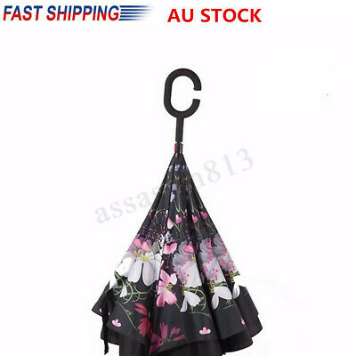 Windproof DoubleLayer Upside Down Reverse Inverted Umbrella C-Handle Inside Out