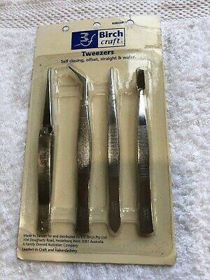 Birch Tweezers. packet of 4. Self closing, offset, straight & wafer. New unused