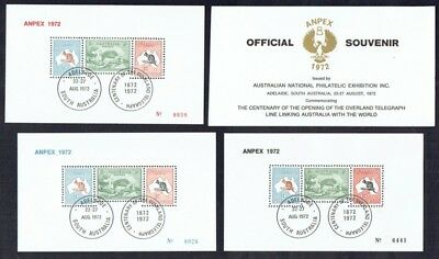 Australia 1972 ANPEX sheetlets - all 3 colour types with original folders (3)