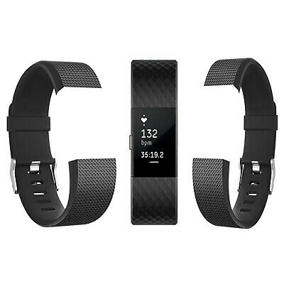 Fitbit Charge 2 Activity Tracker, Large Gunmetal With Two Replacement Straps