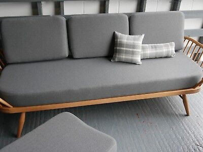 Cushions & Covers Only. Ercol Studio Couch/Daybed. Mid Grey Stitch Camira FL833