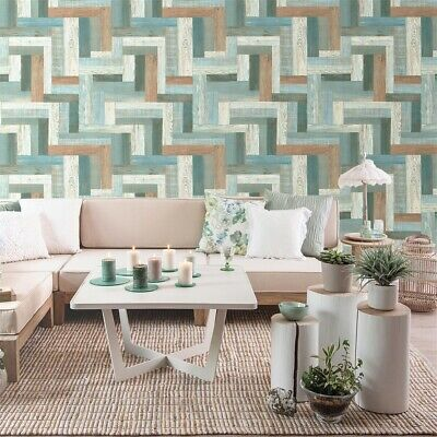 Realistic Faux Wood Wallpaper Tan Coffee Beige For Home
