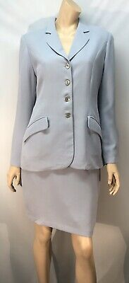Vintage Cue Pale Blue/Grey Skirt Suit - Size 12