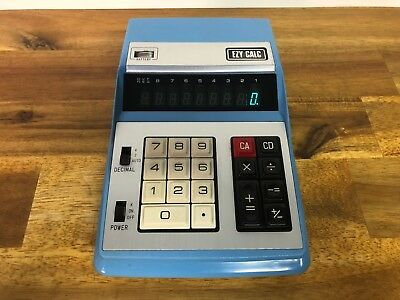 Vintage EZY CALC Blue Electronic Tube Style Calculator Model K-80S Made In Japan