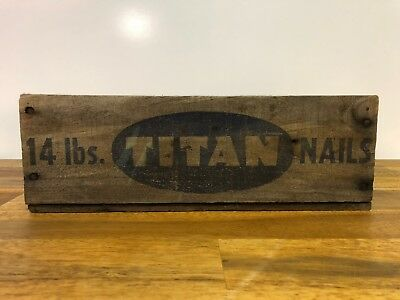 Vintage Titan Nails 14 lbs Wooden Box Crate