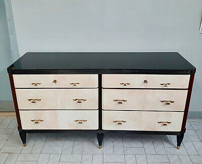 Art Deco  Chest Of Drawers In Rosewood With Parchment Original From 1940-50