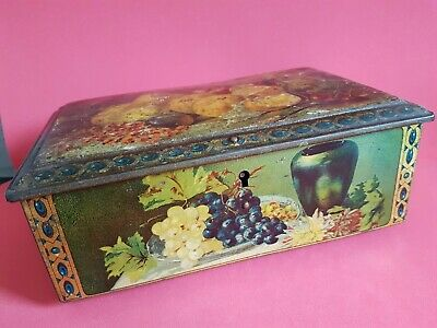 Vintage Used Hinged Top Tin Fruit Pictures