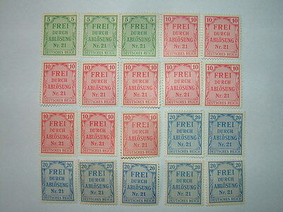 1903 GERMANY OFFICIAL STAMPS x 20 MINT HINGED/NO GUM (sgO84/6) CV £7