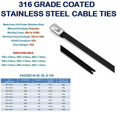 316 Grade COATED Stainless Steel Strong Metal Cable Ties Galvanic Attack