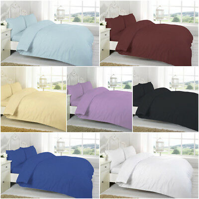 Plain Dyed 100% Egyptian Cotton Duvet Quilt Cover With Pillowcases All Sizes