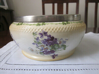 Antique George Jones Violets Bowl With Silverplate Rim