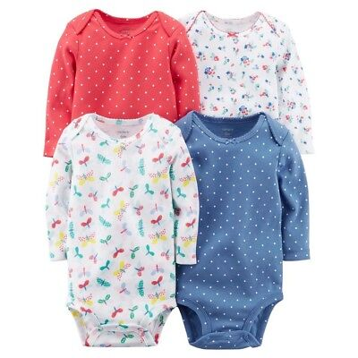 110dae86a New Baby Girl Carter's 4-Pack Polka Dot and Print Long Sleeve Bodysuits 3 12