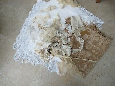 JOB LOT 1.4 kilos VINTAGE LACE TAPESTRY TABLECLOTH CRAFT WORK DOLLS RECYCLE
