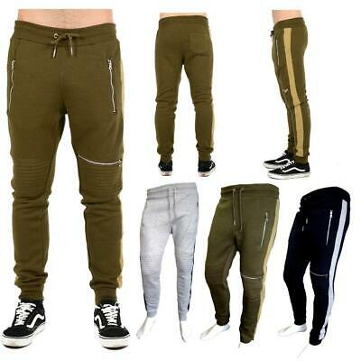 707459f3282404 Mens Trousers Zipped Biker Jog gers Slim Fit Sweat Pants Training Jogger  Bottoms