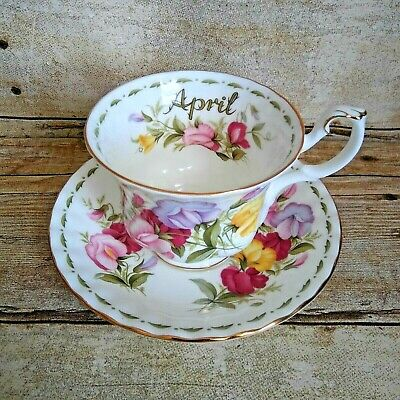 Royal Albert Flower of the Month April Sweet Pea Teacup Saucer 1970 Bone China