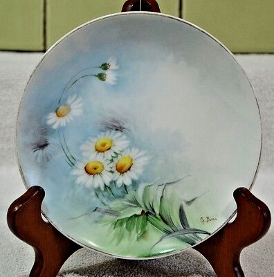 Antique Ginori Italy Cabinet Plate Hand Painted Signed Floral (029)
