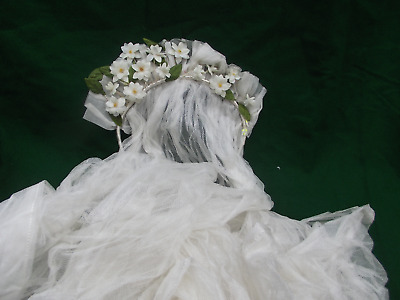 Gorgeous Antique wax orange blossom flower wedding headress tiara  & Veil