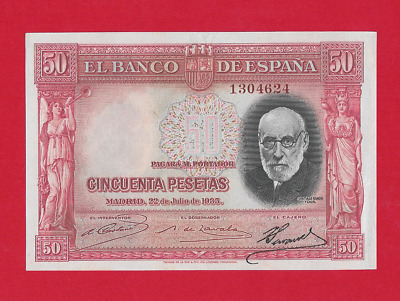 50  Pesetas  De  1935  Color Rojo  Ebc++