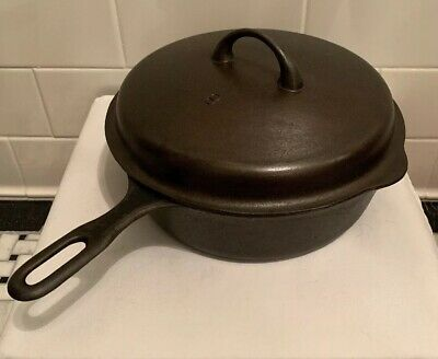 Antique Vintage GRISWOLD #8 IRON MOUNTAIN CAST IRON CHICKEN PAN 1034 LID 1035A