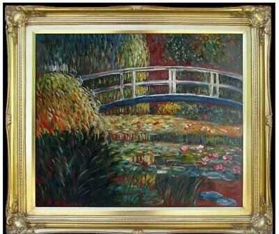Framed Monet Bridge over Water Lily Pond Repro Hand Painted Oil Painting 20x24in
