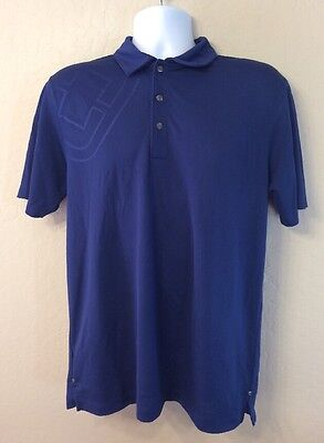 ed3ebdaaf761 OGIO MENS BLUE Short Sleeve Snap Button Polyester Polo Golf Shirt ...