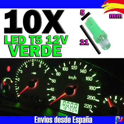 10x Bombillas T5 LED F3 1SMD 12V 1W 50000h VERDE Intenso Cuentakilometros