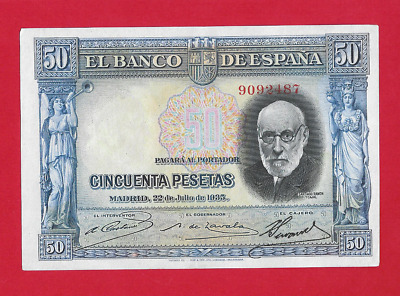 50  Pesetas  De  1935  Color Azul  Ebc++