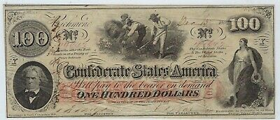 T-41 PF-12 $100 Confederate Paper Money 1862 - Issued Houston TX!