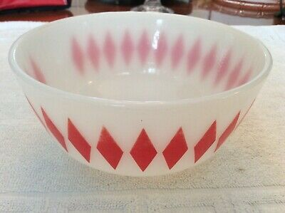 Fire King Red Large Diamond Mixing Bowl 7''1/4