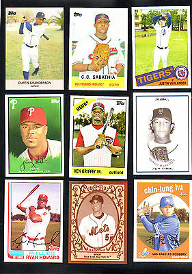 9 LOT 2008 TOPPS TRADING CARD HISTORY GRIFFEY ramirez HOWARD MARTINEZ verlander