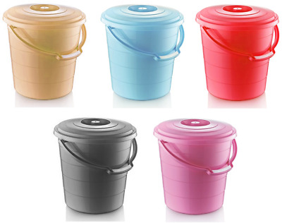 Colour Plastic Bucket Lid Carry Handle Storage Container Tub Bird Seed Pet Food